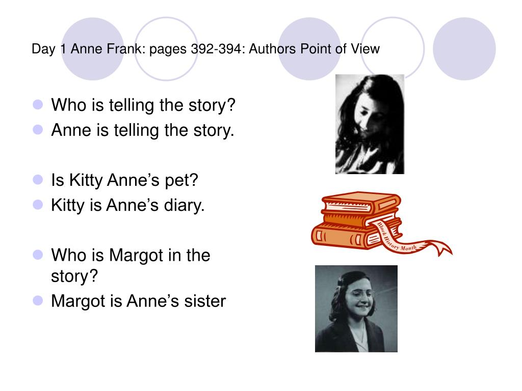 Day 1 Anne Frank: pages 392-394: Authors Point of View