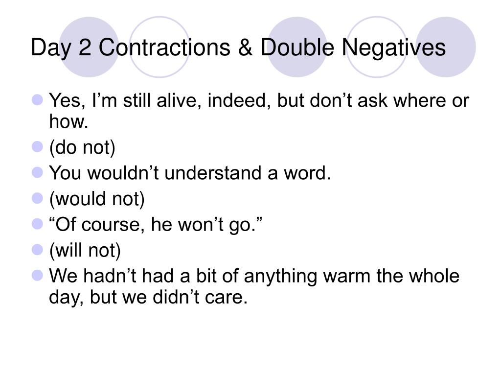 Day 2 Contractions & Double Negatives