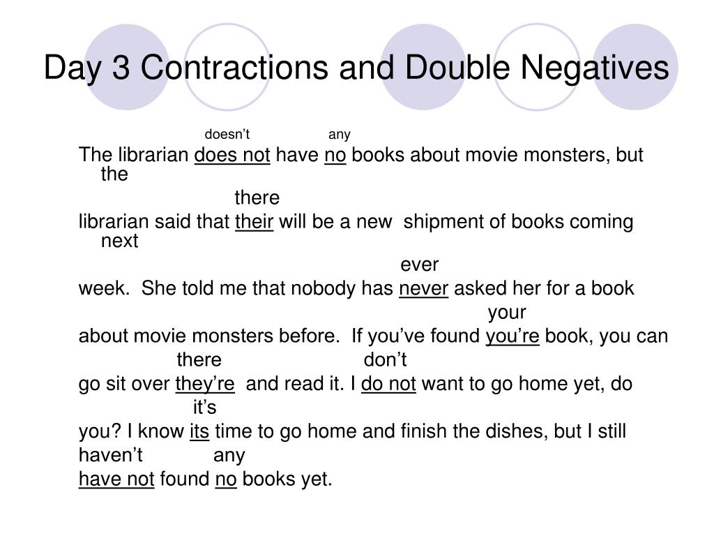 Day 3 Contractions and Double Negatives
