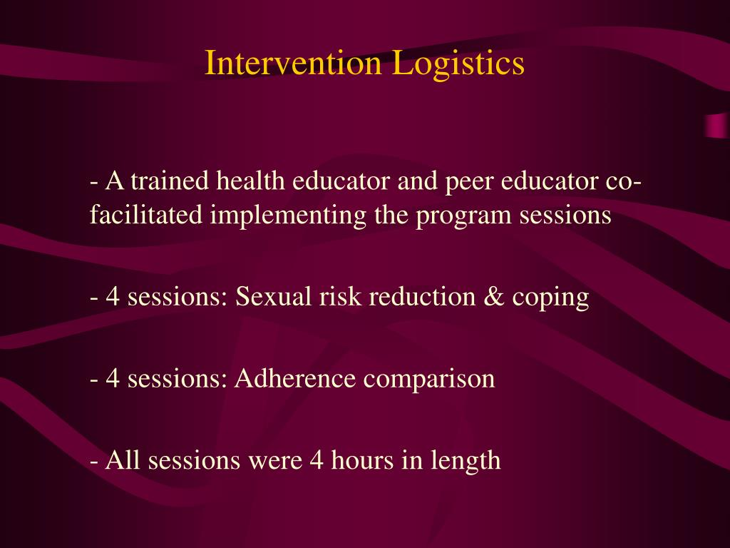 Intervention Logistics