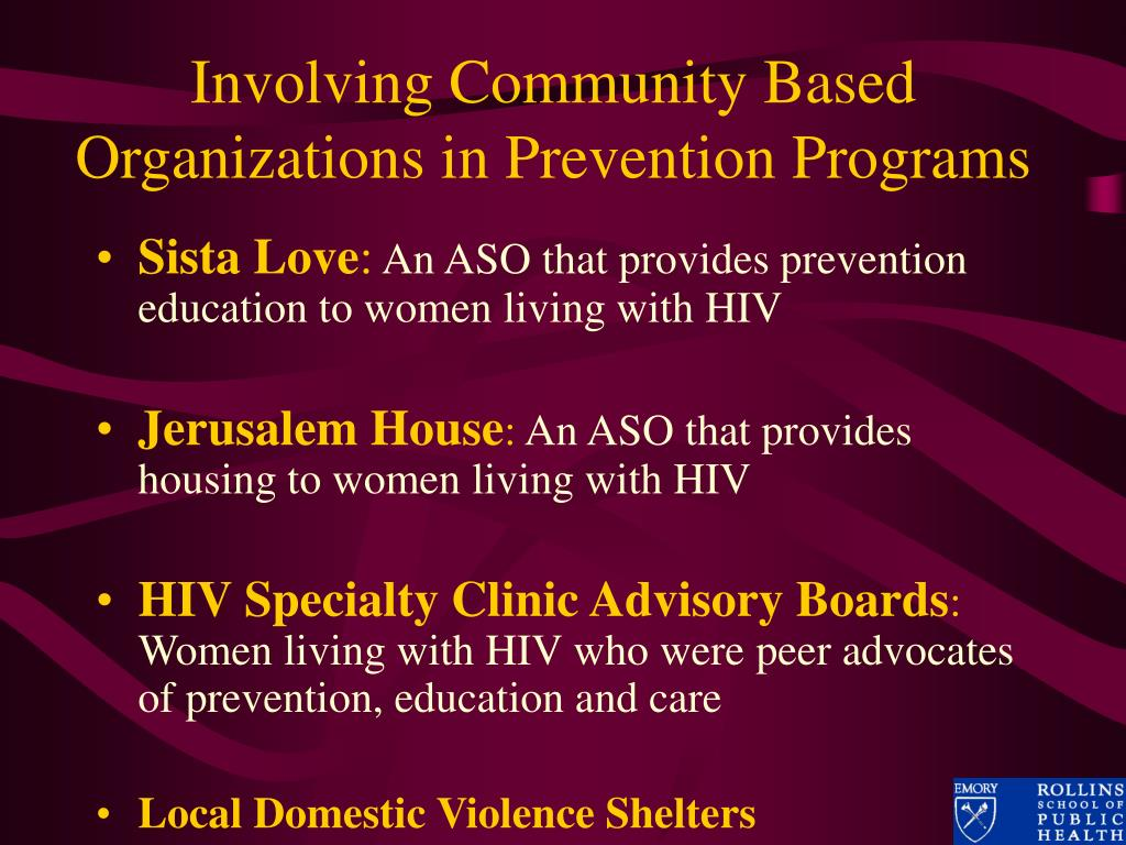 Involving Community Based Organizations in Prevention Programs