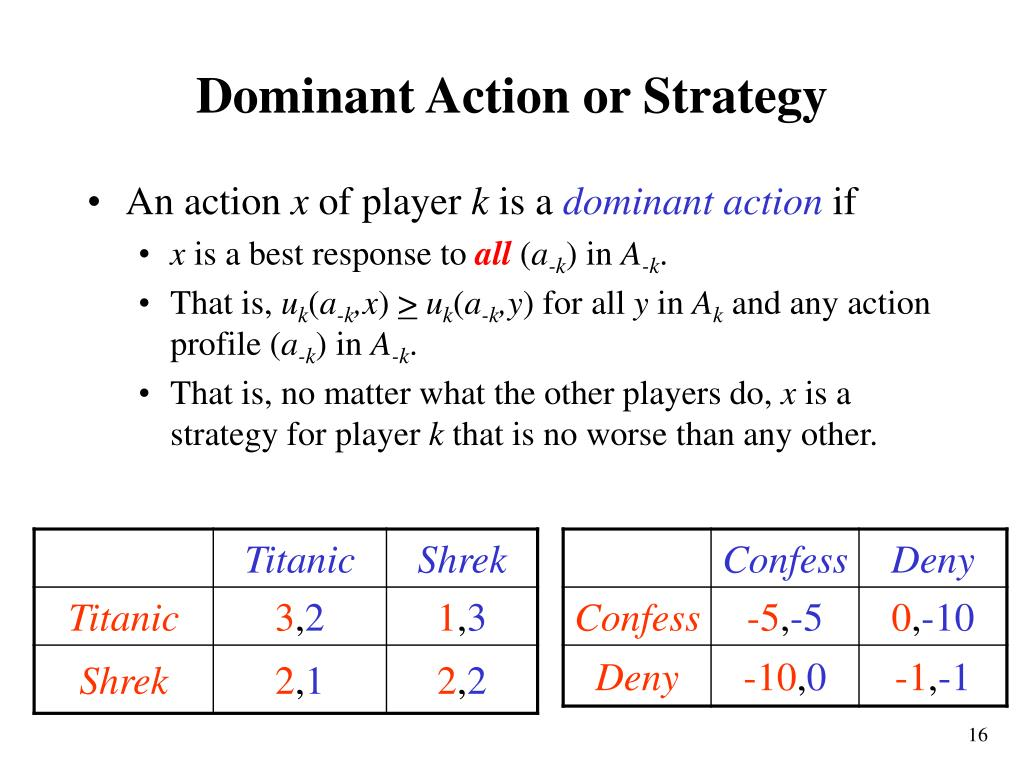 Dominant Action or Strategy