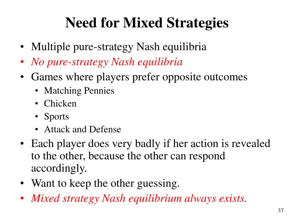 Need for Mixed Strategies