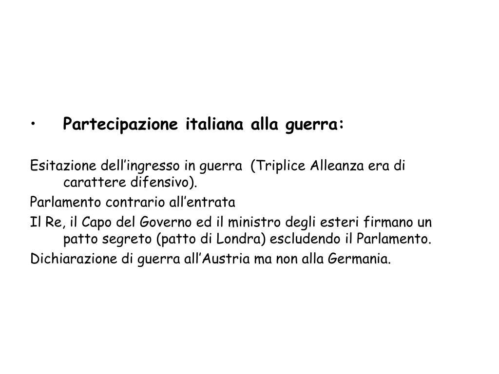 Partecipazione italiana alla guerra: