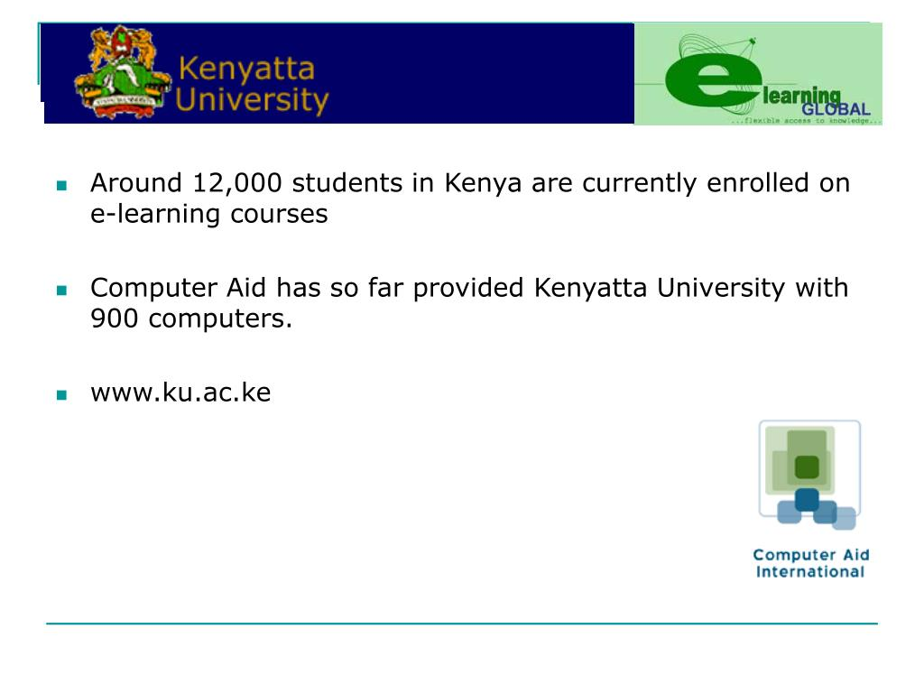 Around 12,000 students in Kenya are currently enrolled on e-learning courses