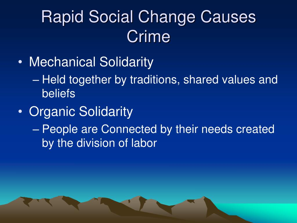 Rapid Social Change Causes Crime