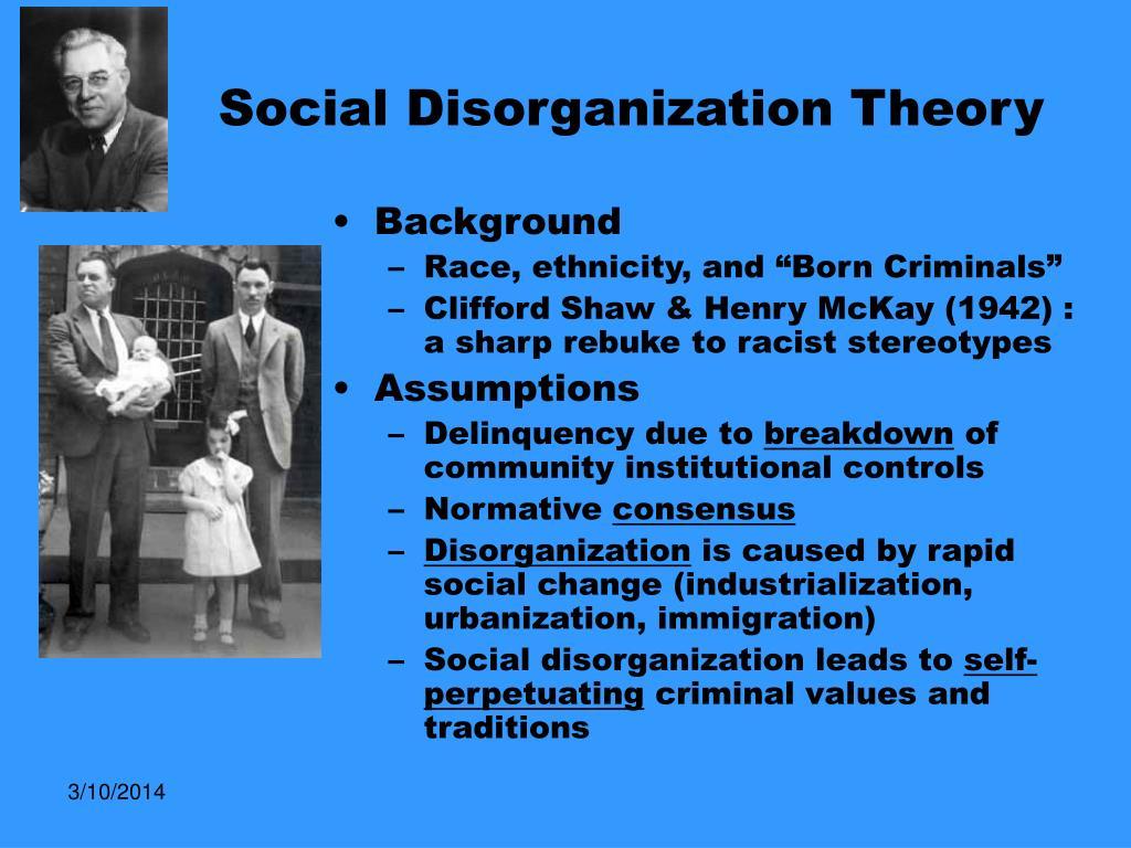sociology and social disorganization social Sociology: social problems study  social-conflict social-disorganization structural-functional symbolic-interaction symbolic-interaction karl marx devoted his life to analyzing the steady expansion of the welfare system gender differences the capitalist economic system human nature.