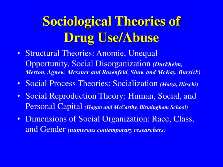 "deviance theory and drug use Many sociological theories of deviance exist drug use, prostitution, and other ""victimless"" crimes may involve willing participants."