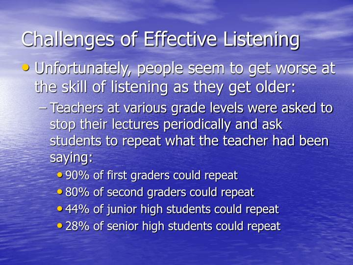Challenges of Effective Listening
