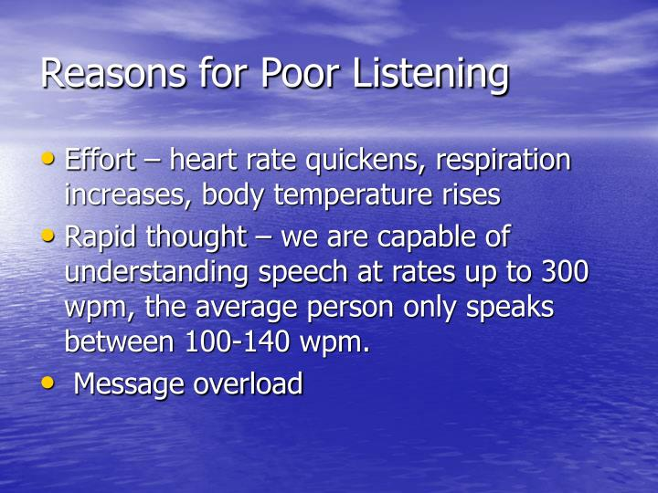 Reasons for Poor Listening