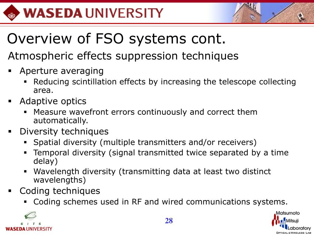 Overview of FSO systems cont.