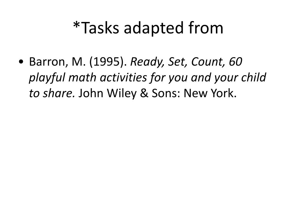 *Tasks adapted from