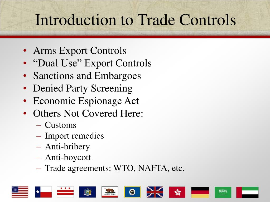 Trade control and export system