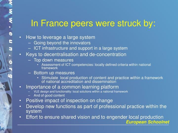 In France peers were struck by: