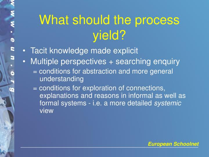 What should the process yield?