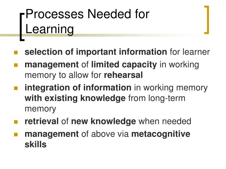 Processes Needed for Learning