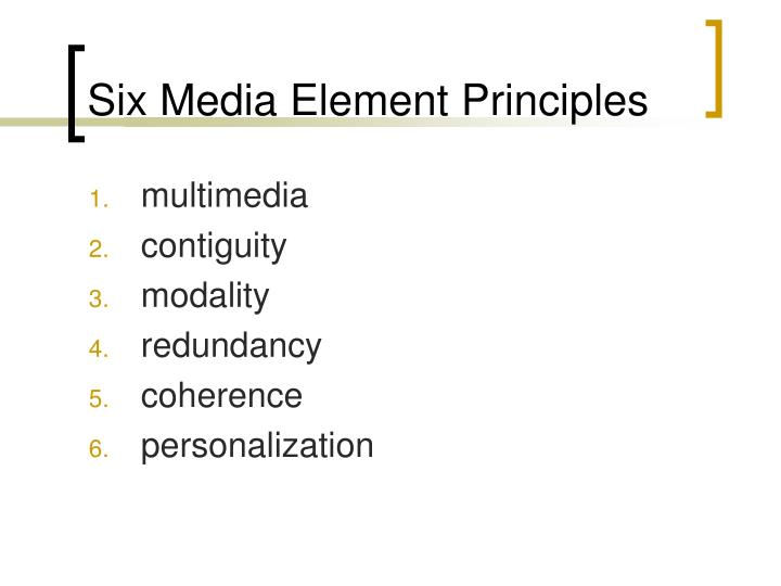 Six Media Element Principles