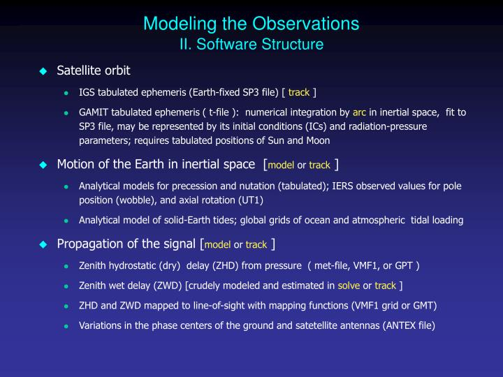 Modeling the Observations