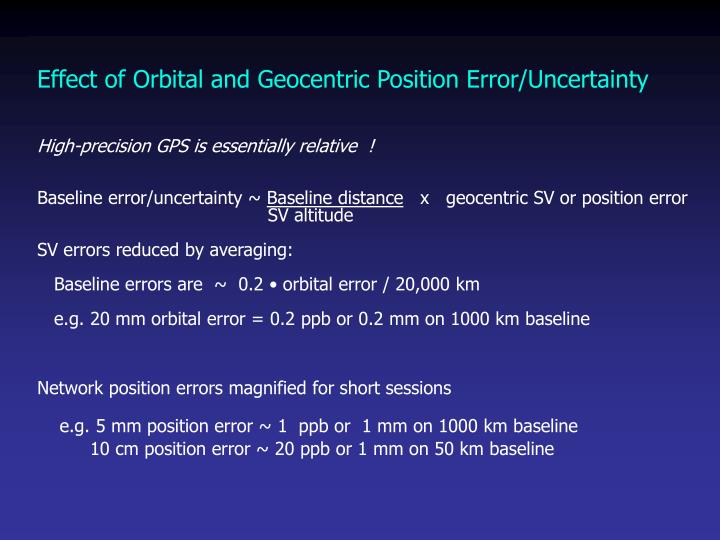 Effect of Orbital and Geocentric Position Error/Uncertainty