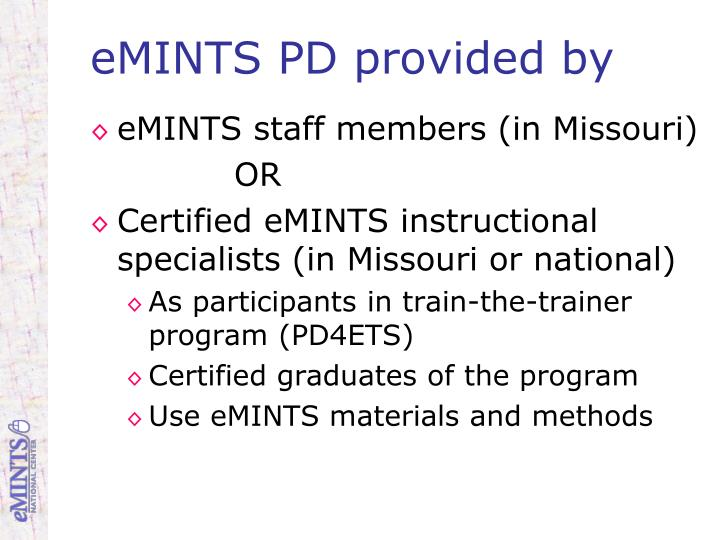 eMINTS PD provided by