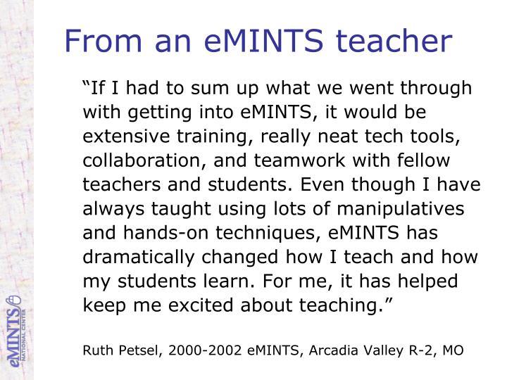 From an eMINTS teacher