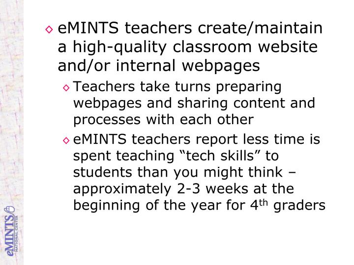 eMINTS teachers create/maintain