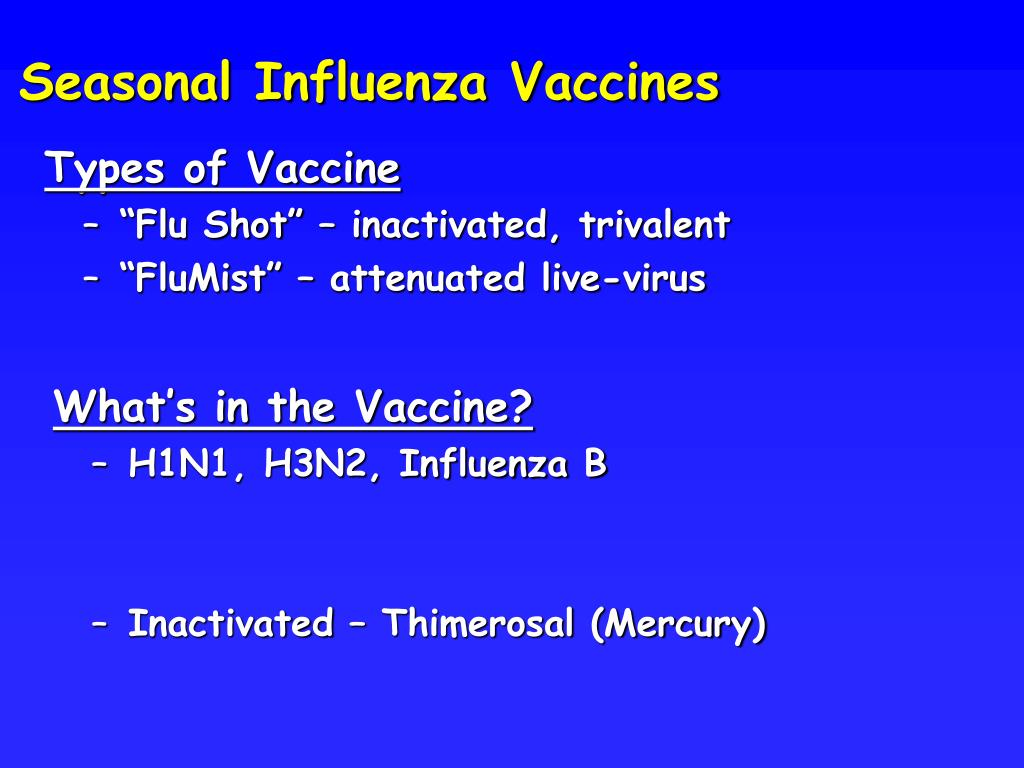 Seasonal Influenza Vaccines