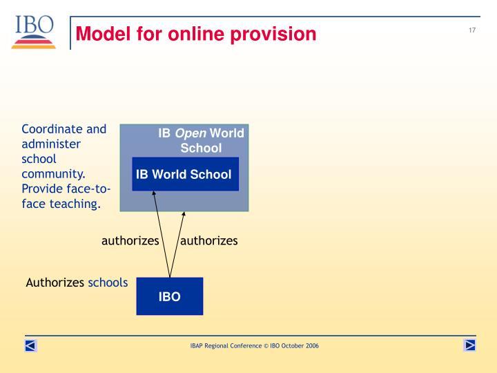 Model for online provision