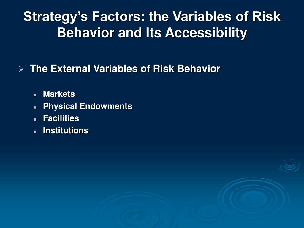 Strategy's Factors: the Variables of Risk Behavior and Its Accessibility
