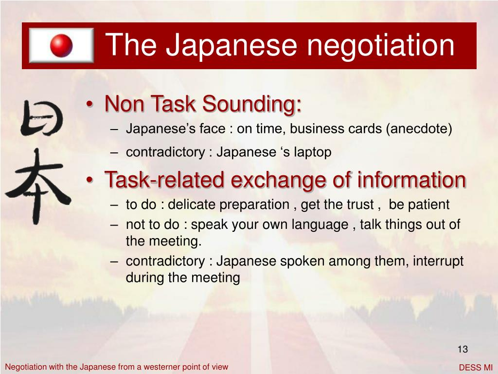 The Japanese negotiation