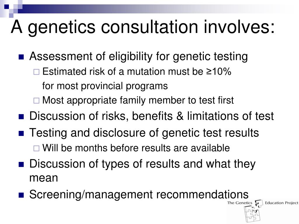 A genetics consultation involves: