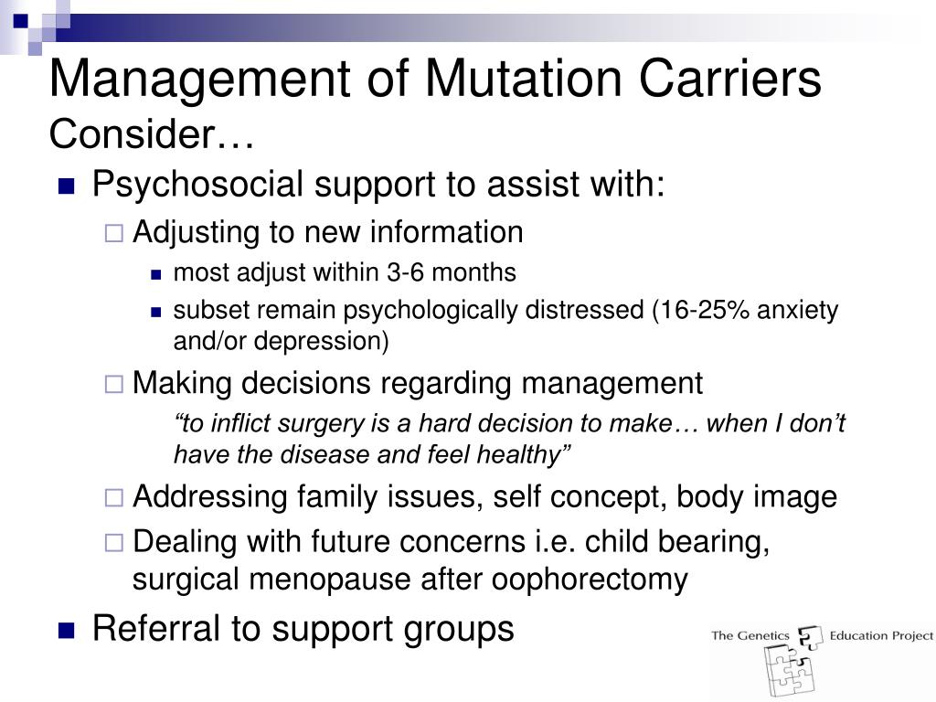 Management of Mutation Carriers