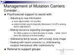 management of mutation carriers consider