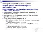 management of mutation carriers surgical options risk reduction salpingo oophorectomy so