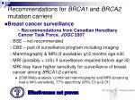 recommendations for brca1 and brca2 mutation carriers
