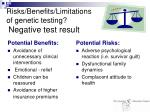 risks benefits limitations of genetic testing negative test result