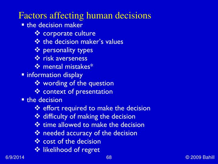 Factors affecting human decisions