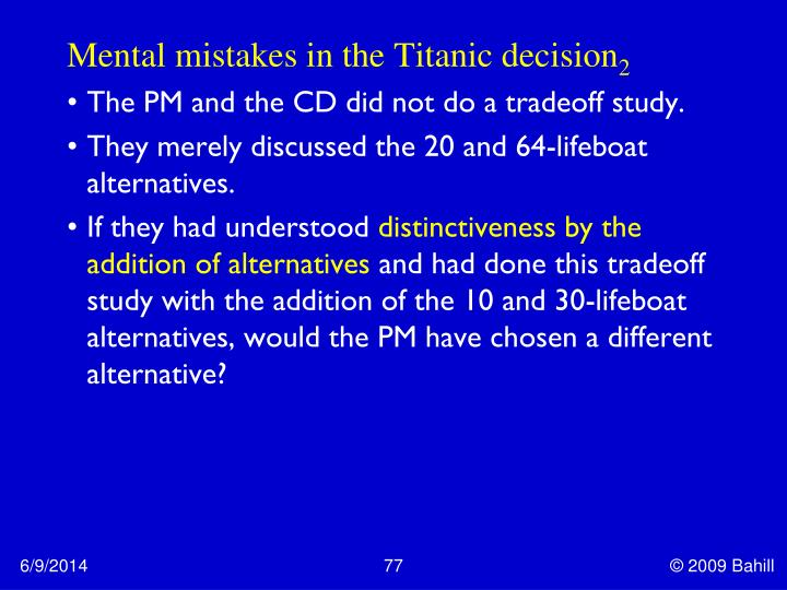 Mental mistakes in the Titanic decision