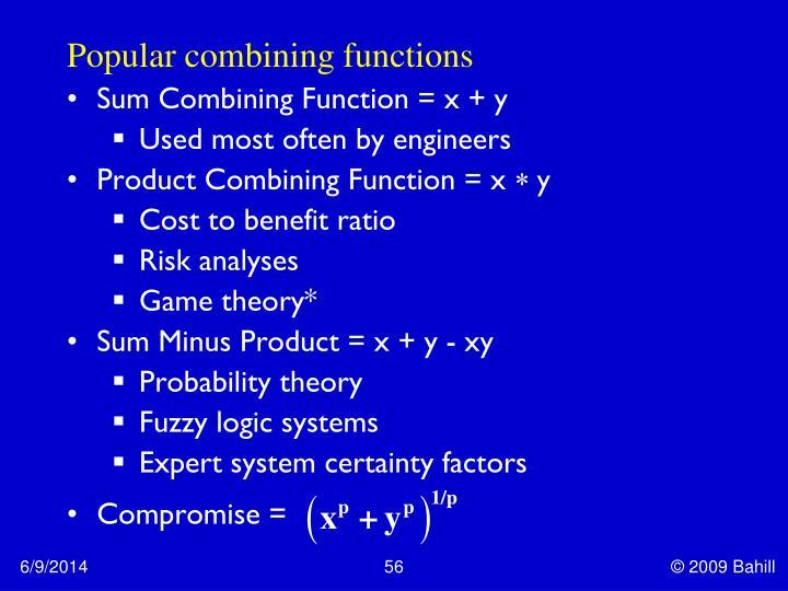 Popular combining functions