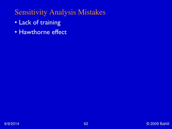 Sensitivity Analysis Mistakes