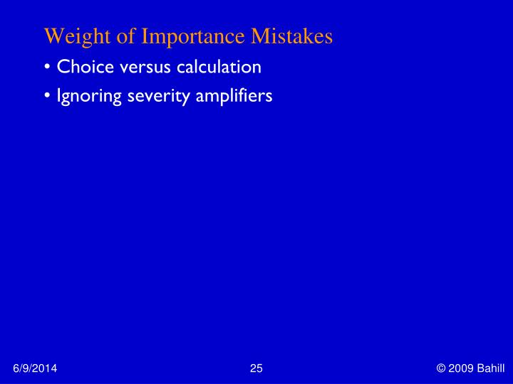 Weight of Importance Mistakes