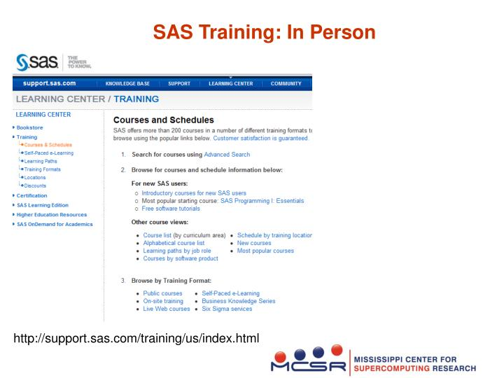 SAS Training: In Person