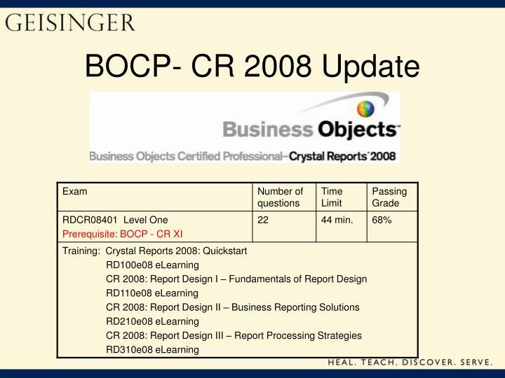 BOCP- CR 2008 Update