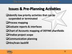 issues pre planning activities12