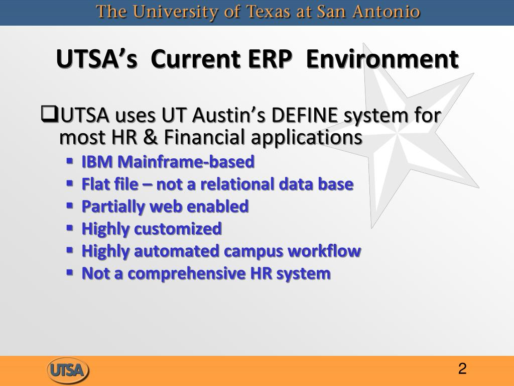 UTSA's  Current ERP