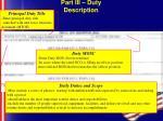 part iii duty description22