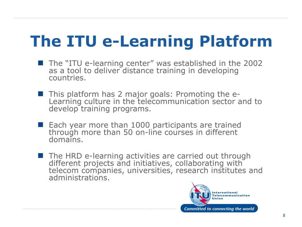 The ITU e-Learning Platform