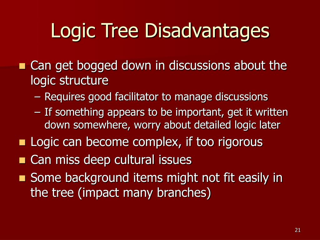 Logic Tree Disadvantages
