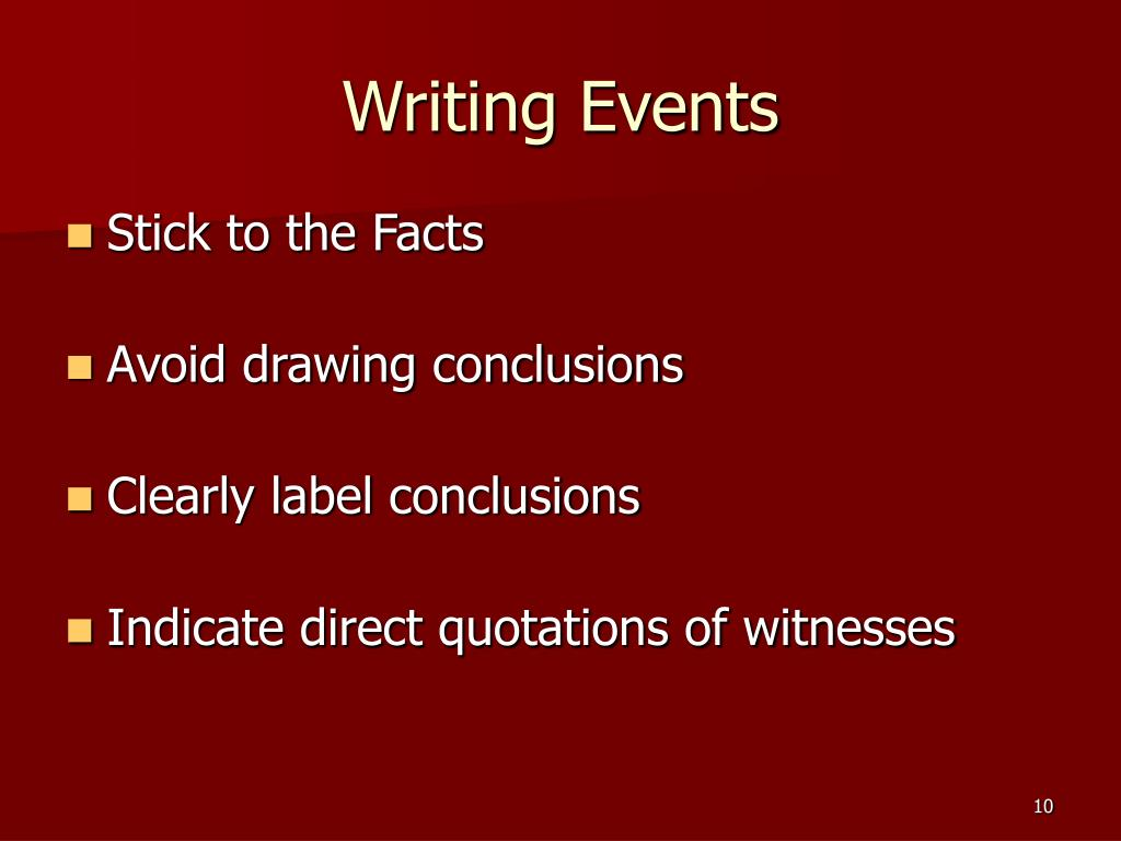 Writing Events