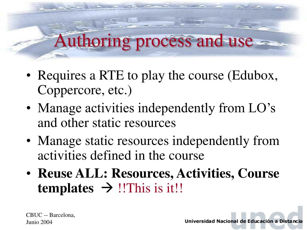 Authoring process and use
